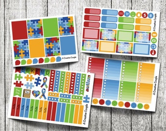 Autism Awareness Weekly Kit Planner Stickers