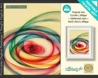 Beautiful Mind 4-1 • Abstract Printable Wall Art, Colorful abstract lines • Modern Abstract Digital Painting • Home Decor, Print Art Decor