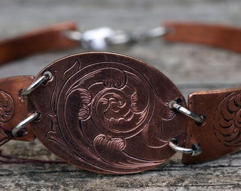Copper 3-piece scroll Bracelet, Hand Engraved, Hand Made