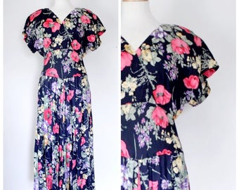 Vintage Dress / 80s Dress / Maxi Dress / 80s Maxi Dress / Day Dress / Floral Dress / Short Sleeve Dress / Navy Blue / Rayon / Size Medium