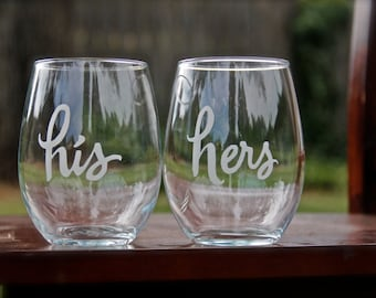 His and Hers Stemless Wine Glasses, Etched Wine Glasses