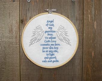 Angel of God Prayer Embroidered Hoop Art, Handmade Gift, Religious Decor, Wall Decor, Felt Art