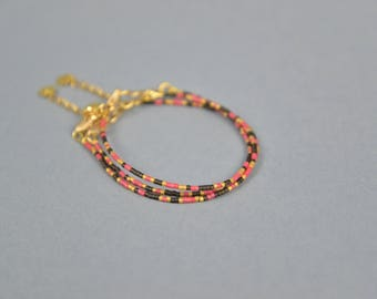 Handmade BRACELET MIYUKI Beads, Mars Dust Collection, GOLDEN and Miyuki Beads, 3 Bracelets Red, Black and golden for gift