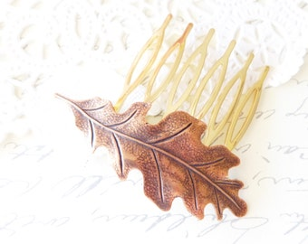 Golden Copper Oak Leaf Hair Comb - Oak Leaf Hair Comb - Woodland Leaf Hair Comb - Copper Leaf Hair Comb - Bridal Hair Accessory