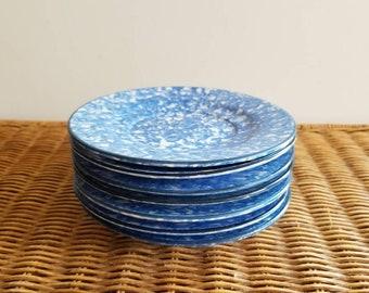 Blue and White Spongeware |  Set of Six Plates