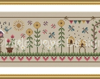 Summer Days Cross Stitch Sampler PDF Chart INSTANT DOWNLOAD