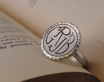 Monogram Ring — Sterling Silver Monogram Ring — 4-Letter Monogram Ring — Initial Ring — Large Statement Ring — Custom Southern Monogram Ring