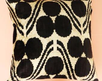 Hand Dyed Velvet Ikat Cushion