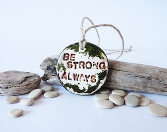 Inspirational Jewerly Motivational Quote Green Clay Pendant Handmade Jewellery Motivational Accessories Sports Jewelry Woodland Necklace
