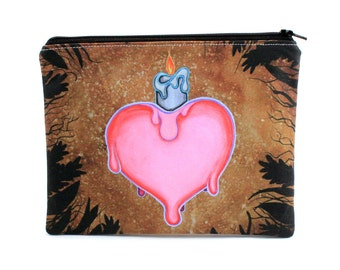 Nostalgia - Zipper Pouch - heart with melting candle - Art by Marcia Furman