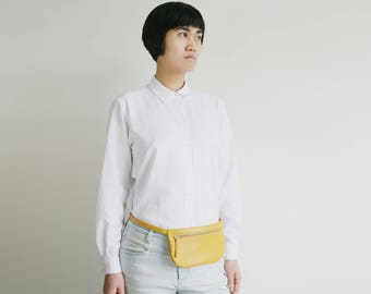 Flat Leather Belt Bag Mustard Yellow, fanny pack, small yellow hip bag, i phone bag