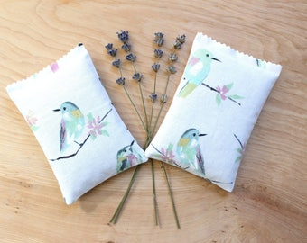 Watercolor Birds Lavender Sachets, Organic Fragrance Pillow for Drawers, Luggage, Unique Gifts for Women