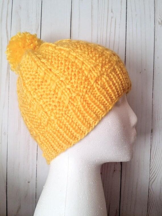 Gelb Strickmütze sperrige gelben Mütze Strickmütze mit Bommel