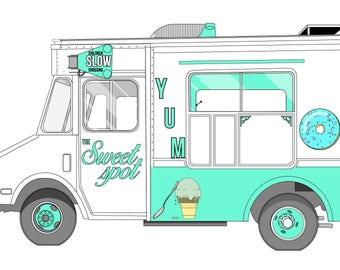 ice cream truck print