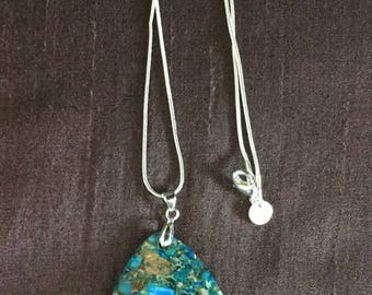 Sea Sediment Jasper Blue Pendant