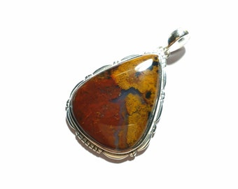 Big Blood Stone pendant sterling silver 925 , 85 ct , 2.12 inch , high polishing , natural stone , code F2838