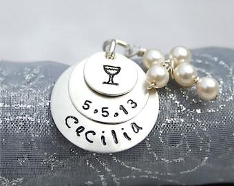Première Communion collier - Bijoux de Communion - avec perle ou cristal Croix en argent Sterling
