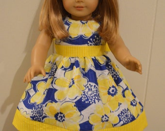 "18"" Doll Clothing: Easter Dress- Yellow/Blue/White Flower Pattern with Bow"