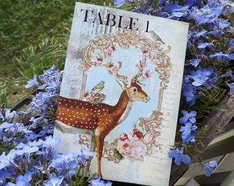 Rustic wedding Moose Deer Wedding table numbers deer theme winter wedding Floral table cards romantic cards