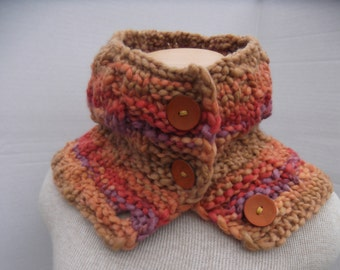 Super Bulky Cowl, Hand Knit Cowl with Buttons, Knit Super Bulky Neck Warmer, Orange Purple Cowl