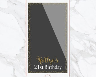 Birthday Snapchat Filter, Birthday Filter, Geofilter, Customized Birthday, Snapchat Geofilter, Sweet 16, Gold, Glitter, Confetti, Gold Foil