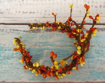 Woodland Priestess Crown Fireball Bud Berry Stamen Hair Flower Garland Bridal Bride Wedding Festival Boho Bohemian Wreath Twig Bloom Floral