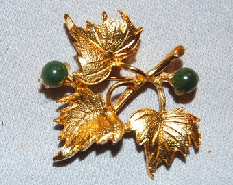 Hobe Jade Brooch, Signed Designer, Gold Leaves,  Pin Vintage Jewelry