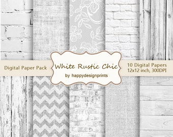 """White Textures Rustic Chic Wedding Digital Paper Pack of 10, 300 dpi 12""""x12"""" Instant Download Pattern Paper Scrapbooking, Invites, Cards JPG"""
