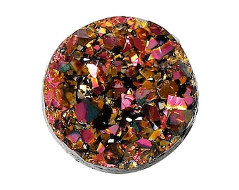 10 Round Resin Metallic AB Magenta, Gold, and Black DRUZY CABOCHONS, faux druzy, 12mm  cab0196a
