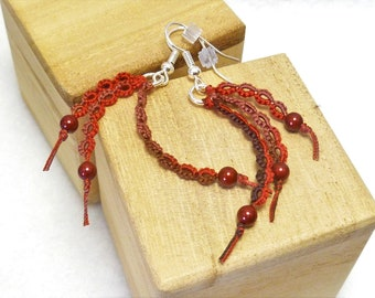 Tatted Lace Earrings Modern jewelry -Wisp in brown red with Swarovski Crystal Pearls in dark terra cotta fancy handmade lace for casual wear