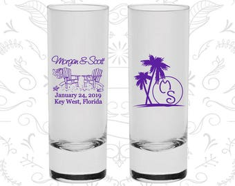 Beach Shooters, Customized Tall Shot Glasses, Palm Trees, Beach Chair, Monogrammed Shooters, Monogram Shooters, Wedding Shooters (23)