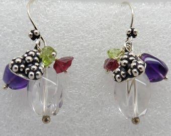 Beaded Multi Gem Stone Earrings 925 Sterling Silver Earring 30mm Long