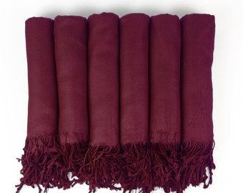 Pashmina Shawl in WINE-  Bridesmaid Gift, Wedding Favor, Bridal party gift - Monogrammable