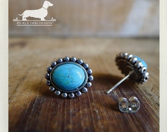 Encircled Turquoise. Post Earrings -- (Vintage-Style, Western, Turquoise, Simple, Small, Cute, Blue, Teal, Marble, Gift For Her Under 15)