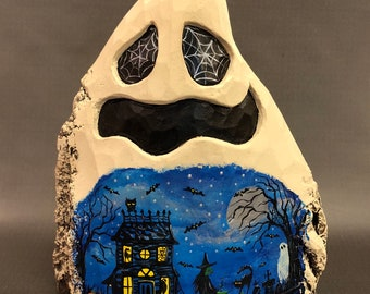 HAND CARVED large Ghost with painted Halloween scene from 100 year old Cottonwood Bark