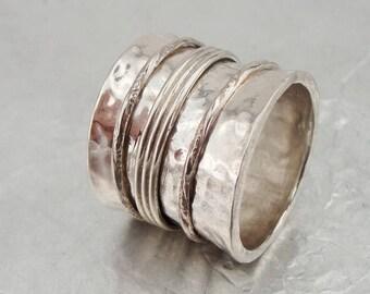 Israeli Massive wide 925 Silver Swivel band Ring Size 7.5, Unique Gift !!! (d 1020r)