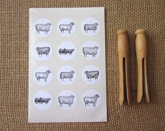 Sheep Lamb Stickers One Inch Round Seals