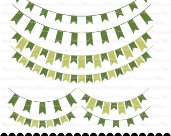 Green Banner clip art - ribbon clipart graphics, ribbon bunting scrapbook green : c0248 3s1216