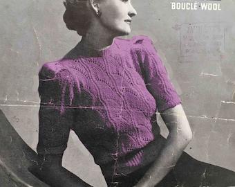1940's vintage knitting pattern - Lady's jumper in lace pattern