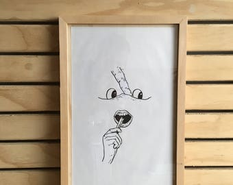 mouth pleasure - framed original drawing