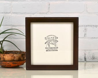 8x8 Square Picture Frame in 1x1 Outside Cove Style with Solid Dark Wood Tone Finish - In Stock Same Day Shipping - 8 x 8 Photo Frame Modern