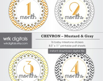 Monthly Baby Milestone Stickers, Yellow and Gray Chevron, INSTANT DOWNLOAD Month to Month Stickers, Printable Baby Monthly Stickers