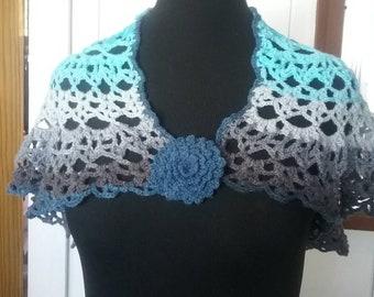 Crocheted shawl shades of blue