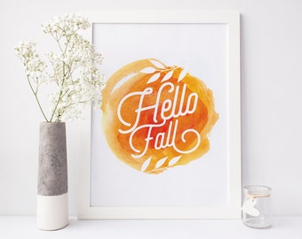 Hello Fall Print, printable decor, autumn print, autumn wall art, thanksgiving print, thanksgiving decoration, autumn decor, fall decor