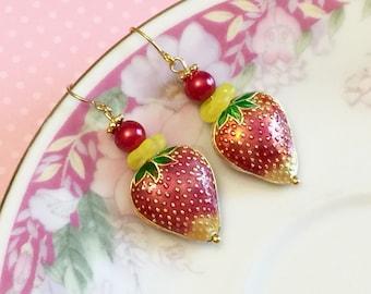 Strawberry Earrings, Cloisonne Earrings, Red Fruit Earrings, Whimsical Drop Earrings, Metal Strawberry Earrings, Handmade By KreatedByKelly