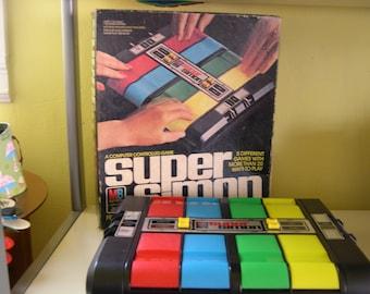 Vintage Super Simon Electronic Game Milton Bradley 1979 with Box-Works!