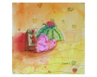 Original Watercolor Painting * With Pen & Ink * LOVE * Small Art Format by Rodriguez