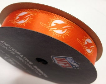"""5/8"""" NFL Miami Dolphins Ribbon, 9 foot spool, Licensed NFL Offray Ribbon"""