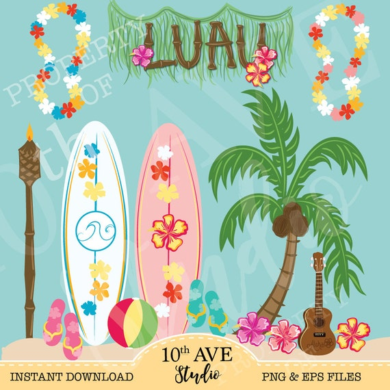 tropical luau clipart png eps vector files summer party