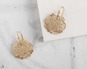 Gold Art Deco-Style Filigree Drop Earrings // Gold Statement Earrings // Christmas Stocking // Art Deco Earring // Gold Jewellery // Bridal